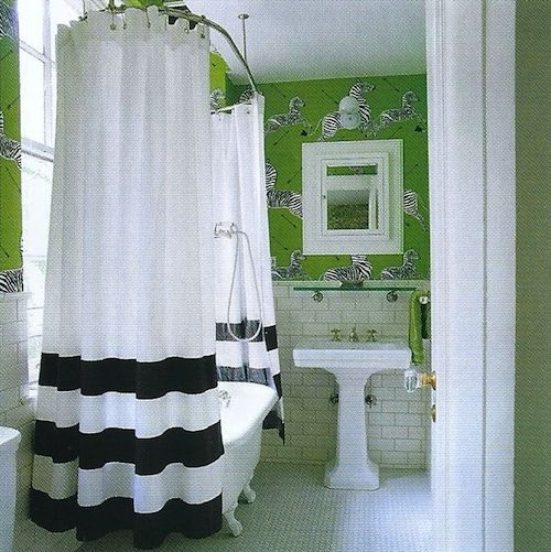 Claw Foot Tub With Shower Surround Bold Black And White Striped Curtain Tile Grassy Green Walls Pedestal Sink