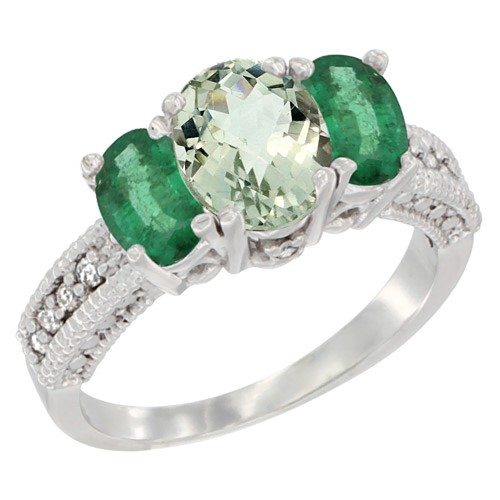 14K White Gold Diamond Natural Green Amethyst Ring Oval 3-stone with HQ Emerald, size 6.5, Women's