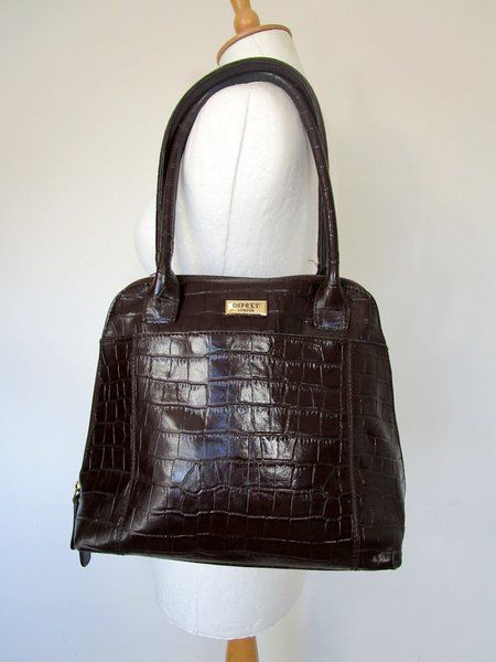 Osprey Brown Leather Mock Croc Handbag