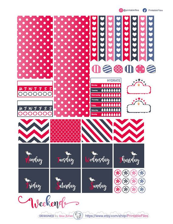 Printable planner stickers this is a weekly kit of stickers designed for the happy planner