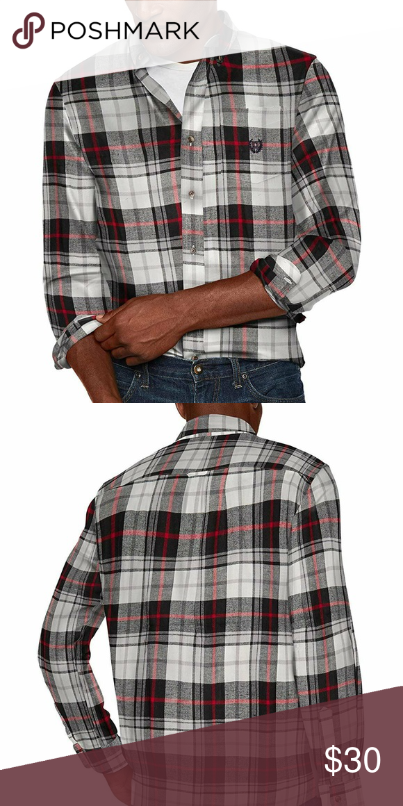 Chaps Mens Classic Fit Long Sleeve Performance Flannel Shirt