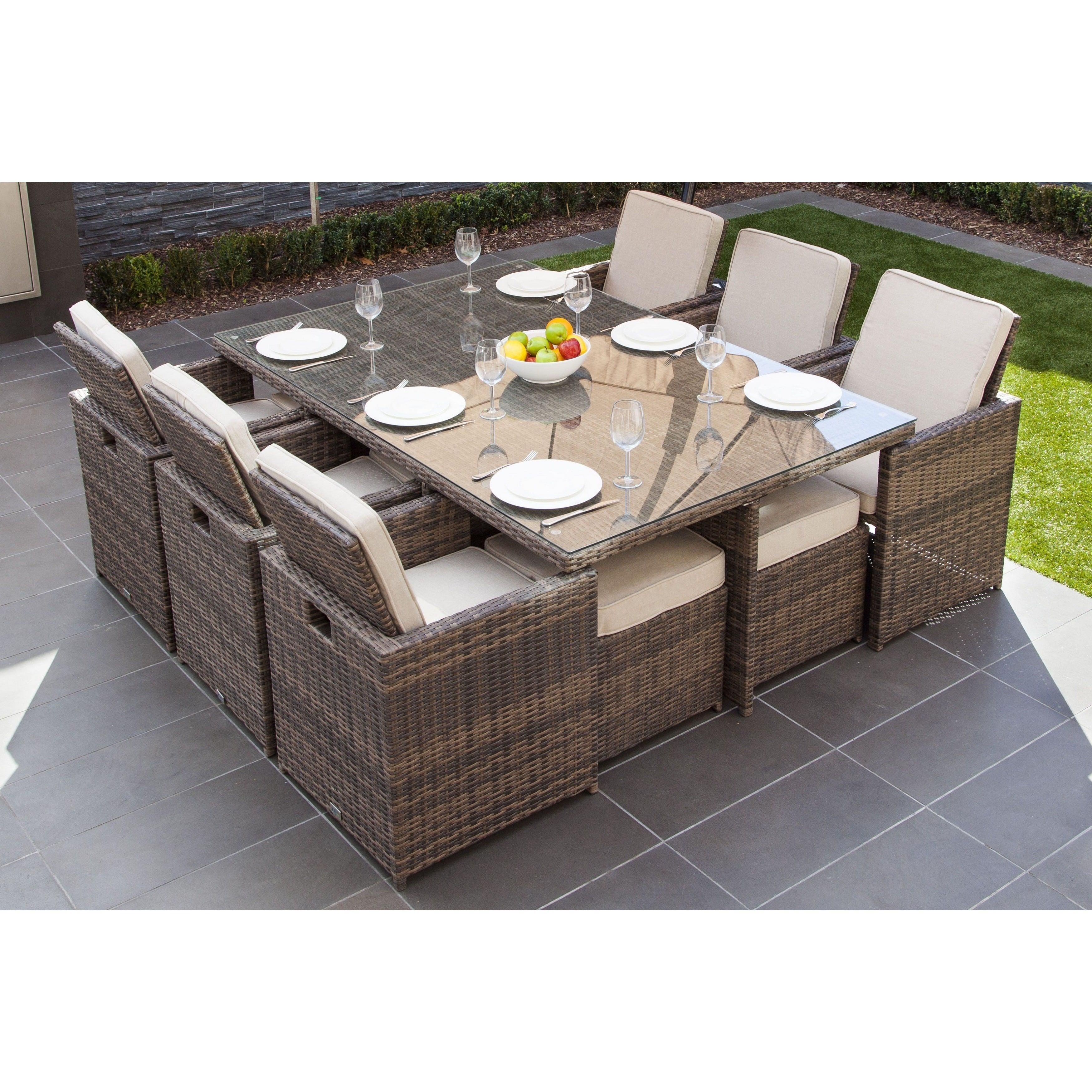 Malta 11 piece outdoor wicker dining table and cushion set by direct wicker brown dinning set beige color size 11 piece sets patio furniture aluminum