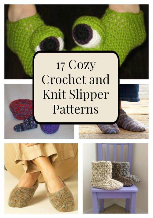 17 Cozy Crochet and Knit Slipper Patterns | Calzado, Tejido y Arte