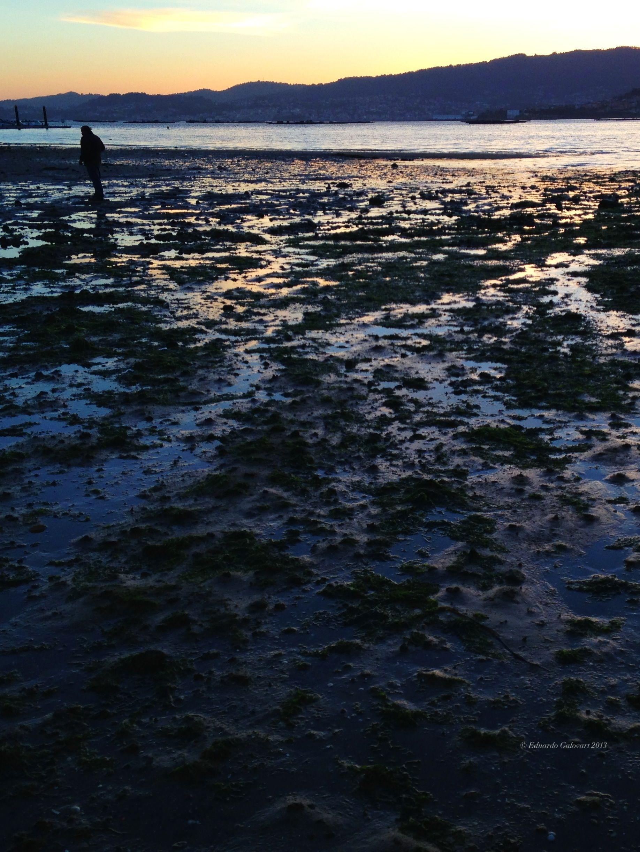 Marisqueando en la playa de Area Longa. Chapela. Vigo.