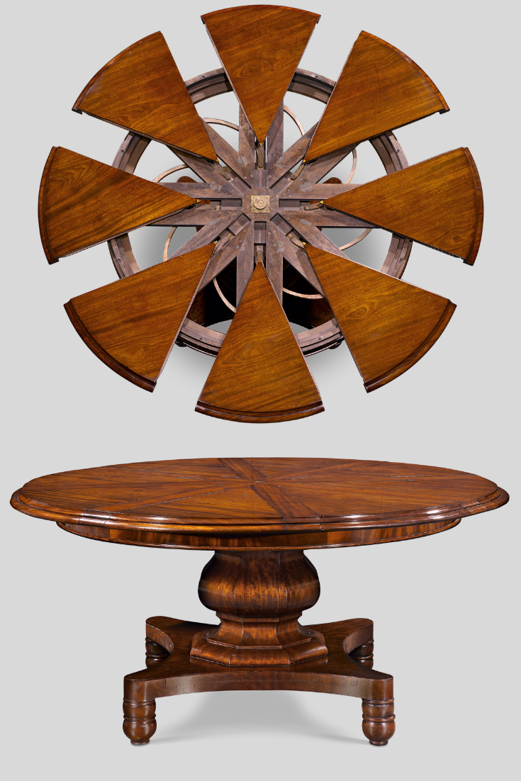 This Early Jupe Patent Expanding Table Is One Of Only A Handful Known The Mahogany Table Was Dining Table Design Round Dining Table Large Round Dining Table