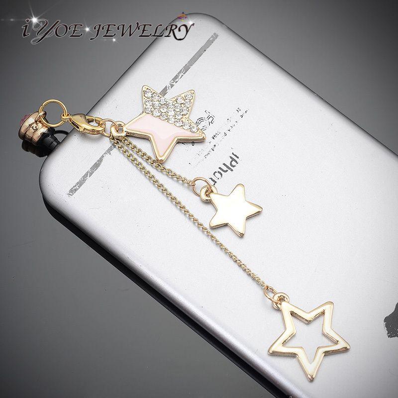 Новое поступление 3.5 мм кристалл наушники вилки 3 цветов мода звезды пыль вилки для сотовых телефонов аксессуары(China (Mainland))