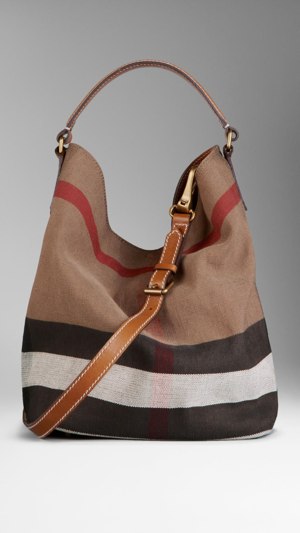 Medium Canvas Check Hobo Bag Burberry