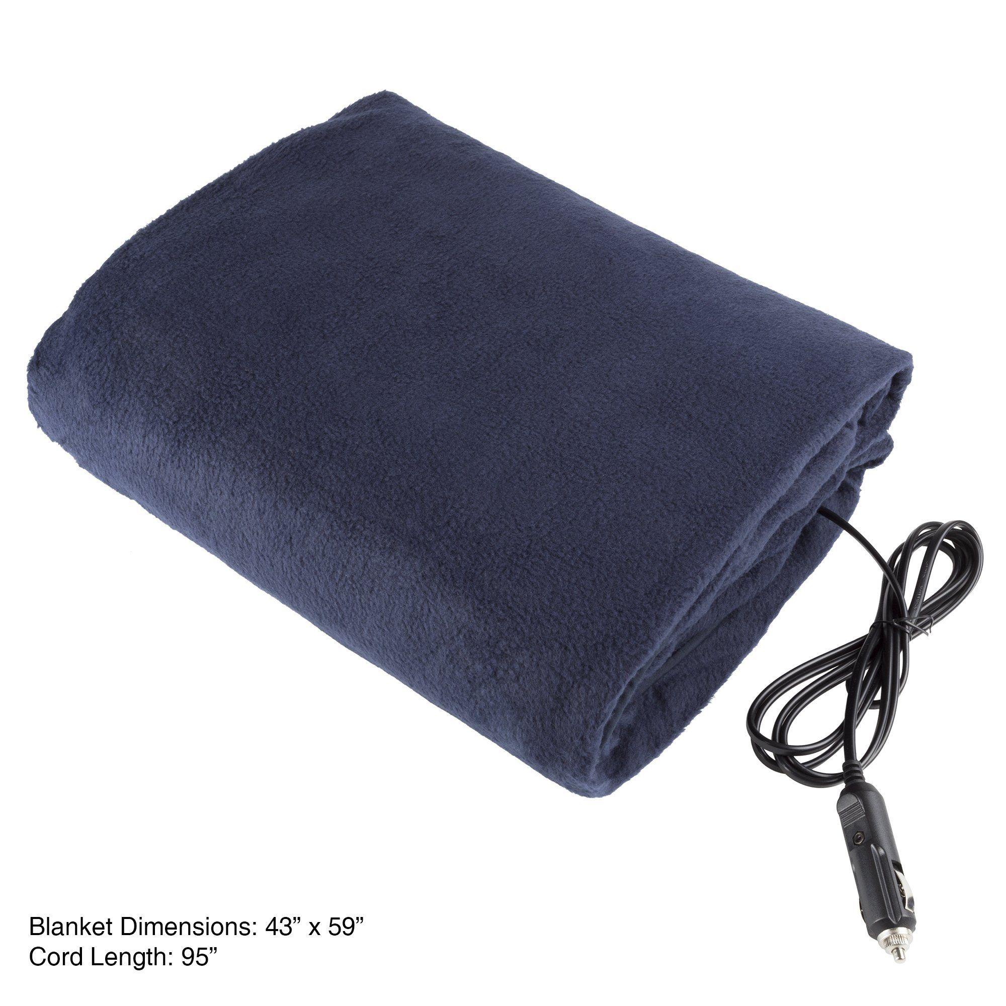 and Emergency Kits Tailgating Great for Cold Weather Electric Car Blanket- Heated 12 Volt Fleece Travel Throw for Car and RV