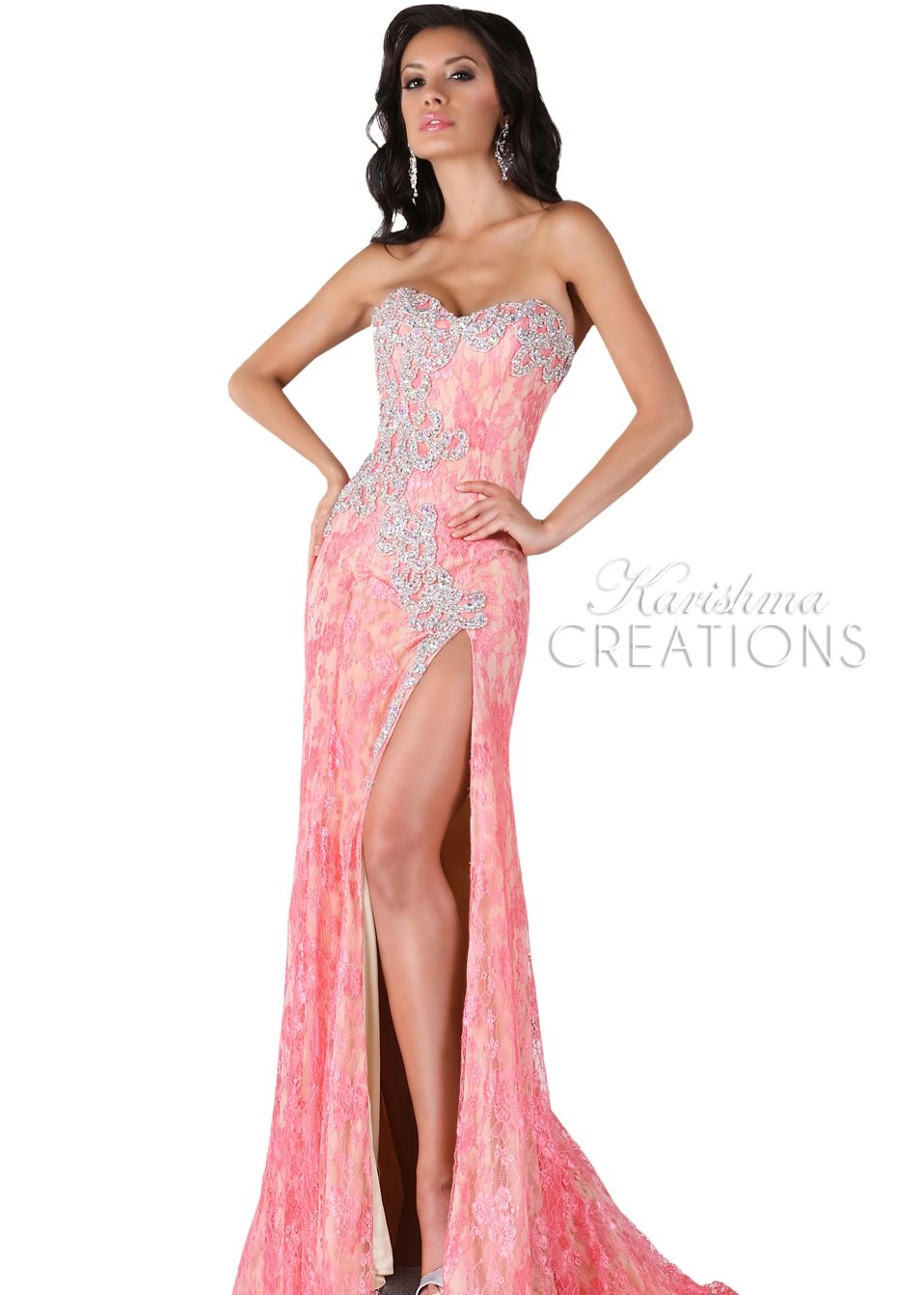 Karishma 3704 - Nude/Pink Strapless Beaded Lace Prom Dresses Online ...