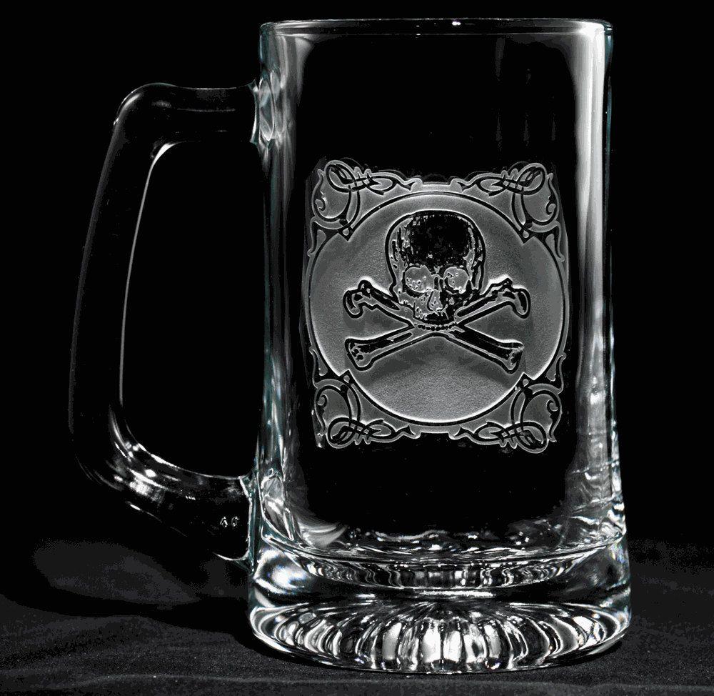 Skull and Cross Bones Beer Mug Glass, Engraved Engraved