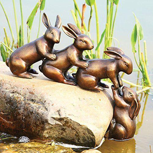 Great Home Garden Decor Helping Hands Bunny Rabbit Friends Statue Aluminum Pond  Lawn Ornament ***