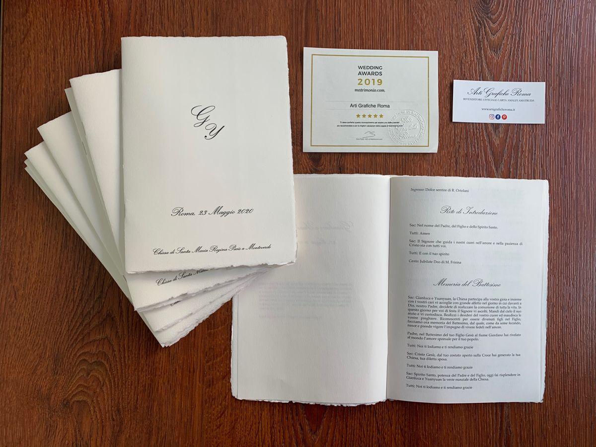 Libretti Messa A In Carta Amalfi Nel 2020 Partecipazioni Nozze Matrimonio Carta Nozze