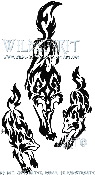 Tribal Wolf Mother And Pups By Wildspiritwolf Deviantart Com Tribal Wolf Tattoo Tribal Wolf Tribal Drawings