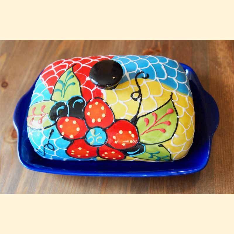 handbemalte Keramik Schale-Butter spanische Keramik Butterdose