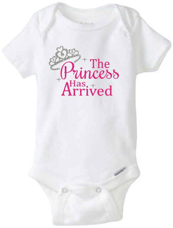 The Princess has Arrived glitter baby onesie. by FlawlessDesigns22