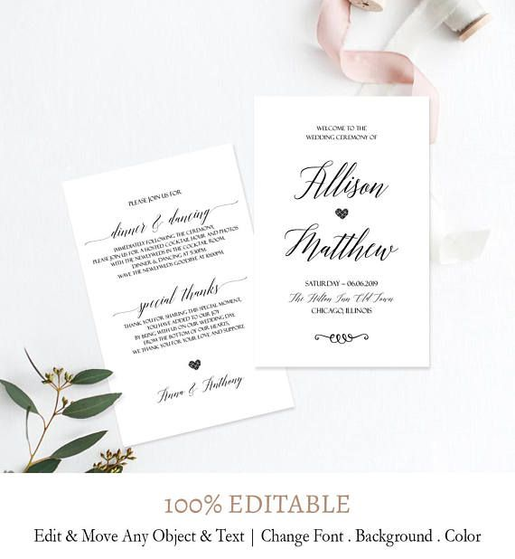 Wedding Ceremony Program Template Depict Luxury Home How Create That