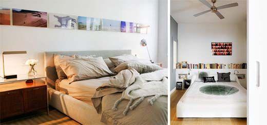 (Left) Love the long rectangular photos at near clerestory window height