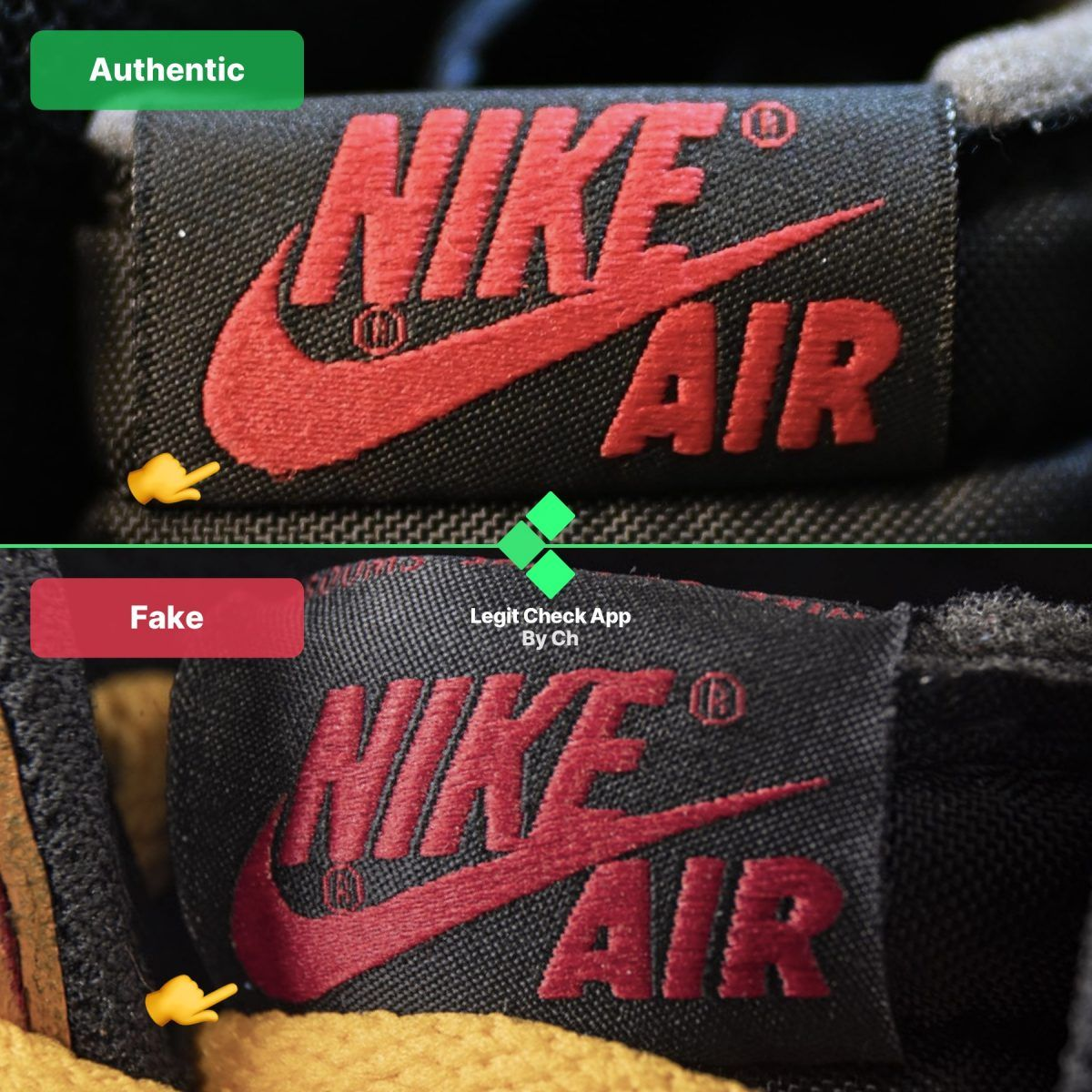 """Step 2 Verify the exterior side of the """"NIKE"""" tongue tag"""