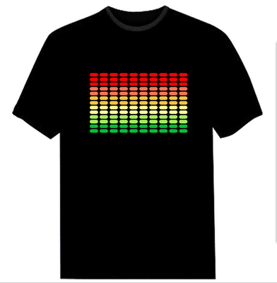 Sound Activated Electronic Light Up Rave Graphic Equalizer T-shirt All Sizes New