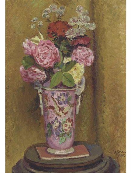 ✽    duncan grant  -  'roses in a pink vase'