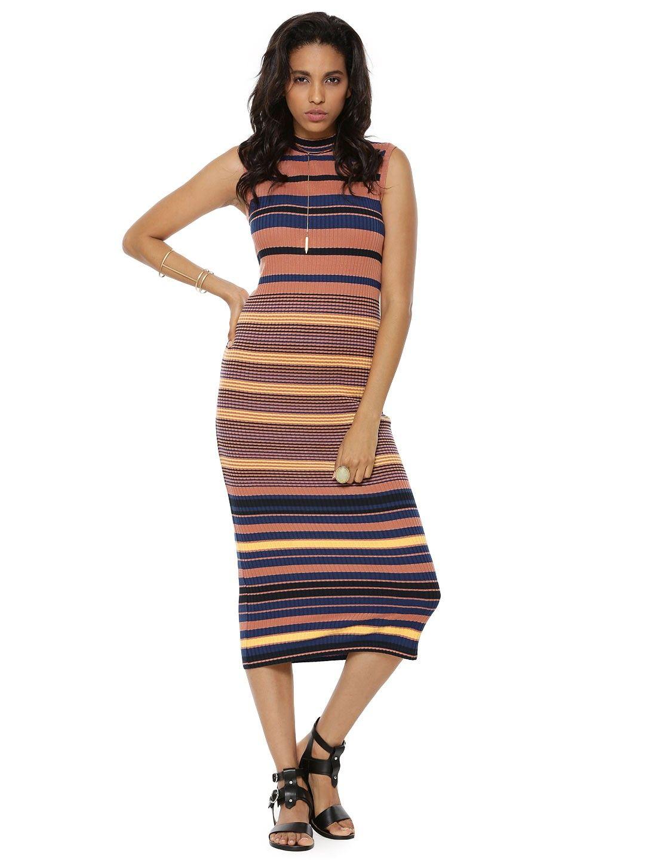 e6a1fc5ac39c Buy WAREHOUSE Stripe Ribbed Column Midi Dress For Women - Women s Multi Midi  Dresses Online in India