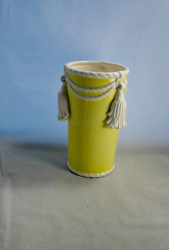 Fitz And Floyd Vase With Tassels Retired Tall Yellow Vase Glazed
