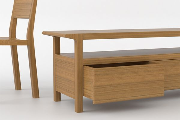 Chair, table and low storage in solid teckFurniture range also