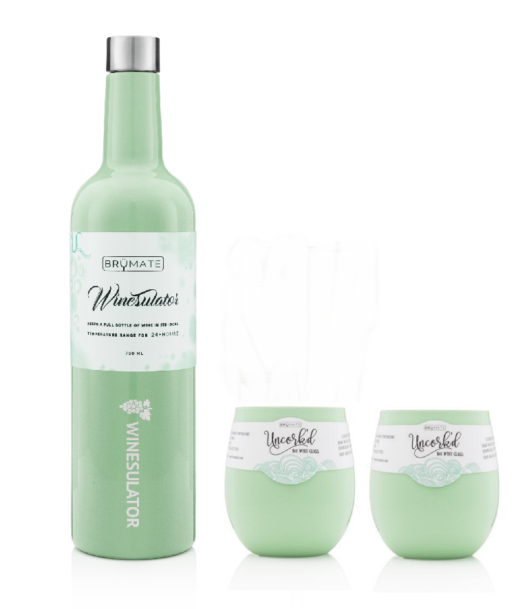 c273e639455 Winesulator 2 Uncork'd Wine Glasses/Lids | Mint (Backordered ~10 days