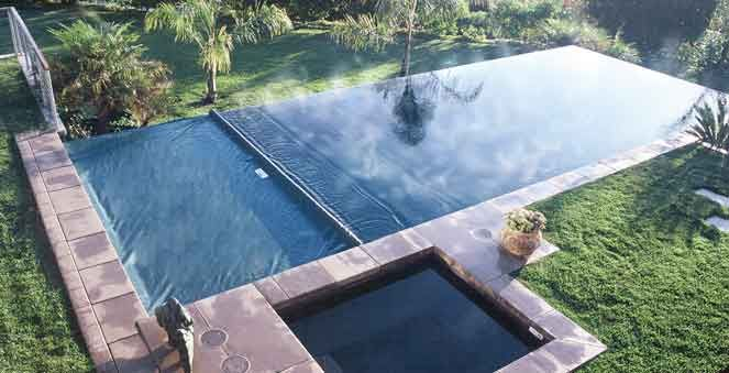 Rectangular Pool And Square Hot Tub With Automatic Coverstar Brand Covers Pool Cover Rectangular Pool Swimming Pools