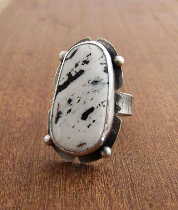 Black White Buffalo Turquoise Ring. Large Sterling Silver Stone Ring. Statement Ring. Bohemian.