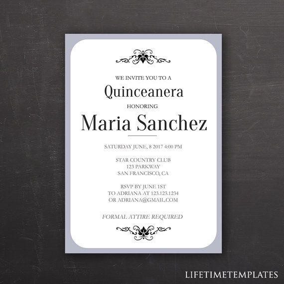 Quinceanera Invitation Template Blue Border - Birthday Invitation - birthday invitation card template photoshop