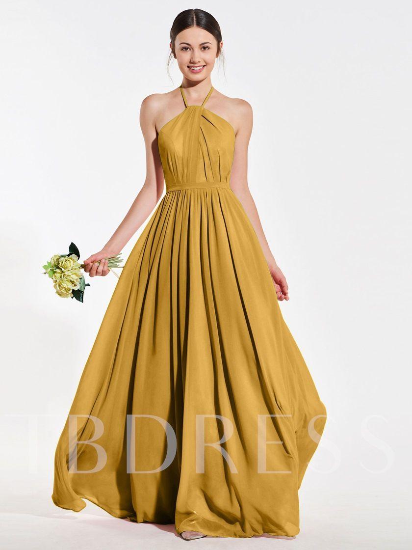 Halter ruched backless long bridesmaid dress 2019 long