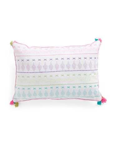 12x18 Kids Embroidered Tassel Pillow