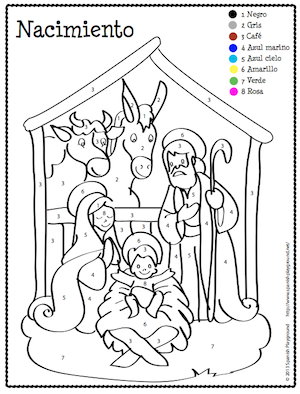 christmas spanish color by number coloring pages to teach colors numbers and christmas