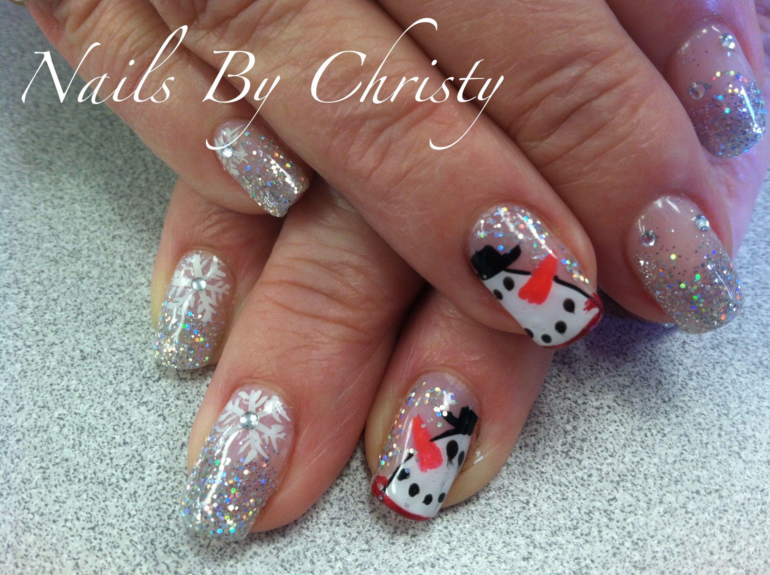 Sparkly Snowman Winter Art Shellac Nails | Shellac nails ...