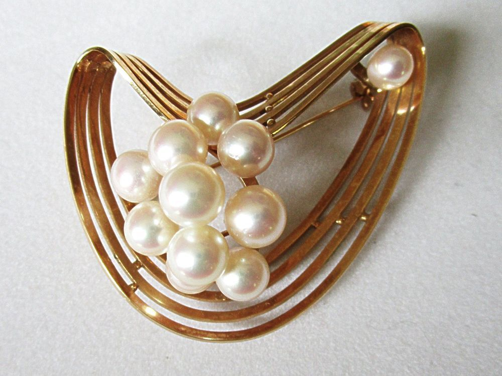 0a0fba42195 14K Gold Cultured Pearl Modernist Pin Vintage Mid Century Modern Boomerang  in Jewelry   Watches