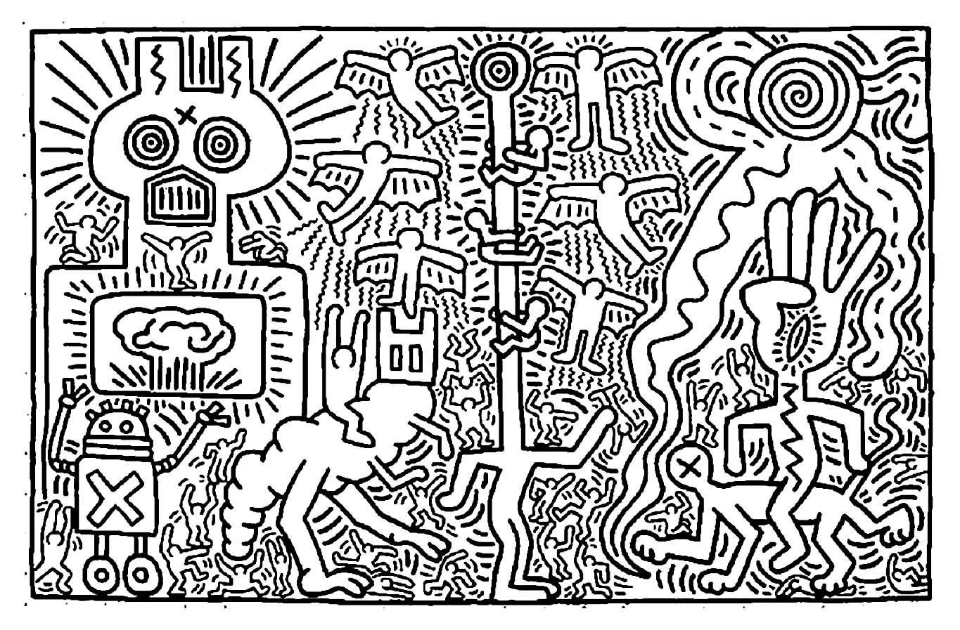 Keith Haring 2 Pop Art Coloring Pages For Adults Just Color