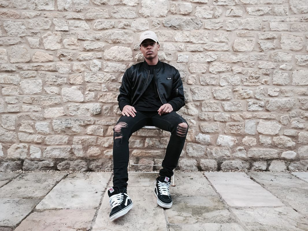 FILET. snapback cap bomber jacket all black
