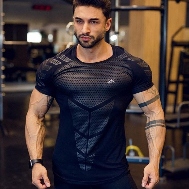 New Men/'s Sloid Slim Fit T-shirt Gym Fitness Running Crossfit Tee Sport Workout