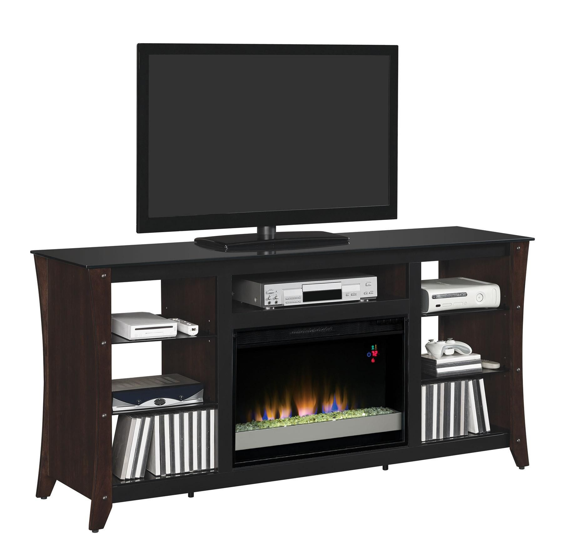 "Marlin Contemporary 66"" Media Mantel with Electric Fireplace"