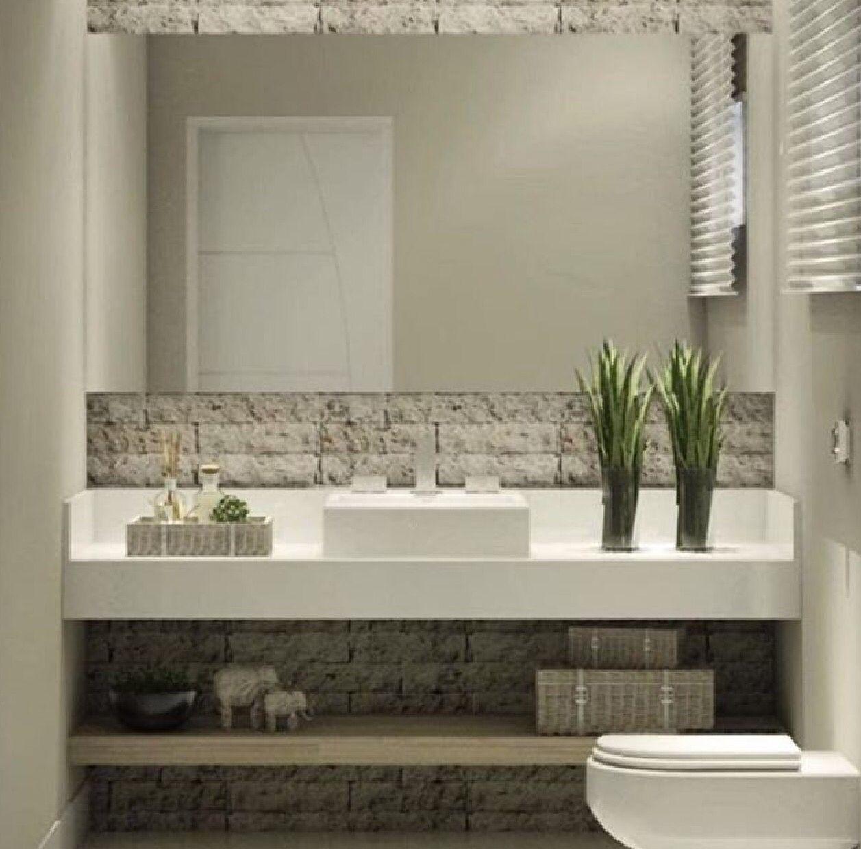 Pared y mueble de obra con pila rectangular ba os for Pilas de lavar con mueble