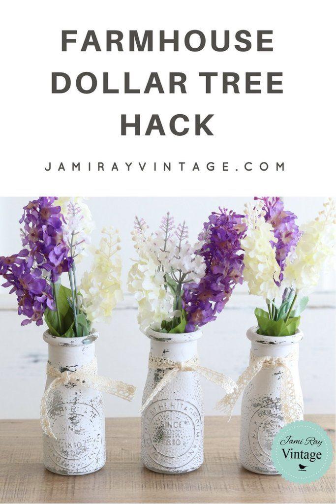 Farmhouse Dollar Tree Hack Youtube Video Dollar Tree Hacks Wine Bottle Diy Crafts Mason Jar Diy
