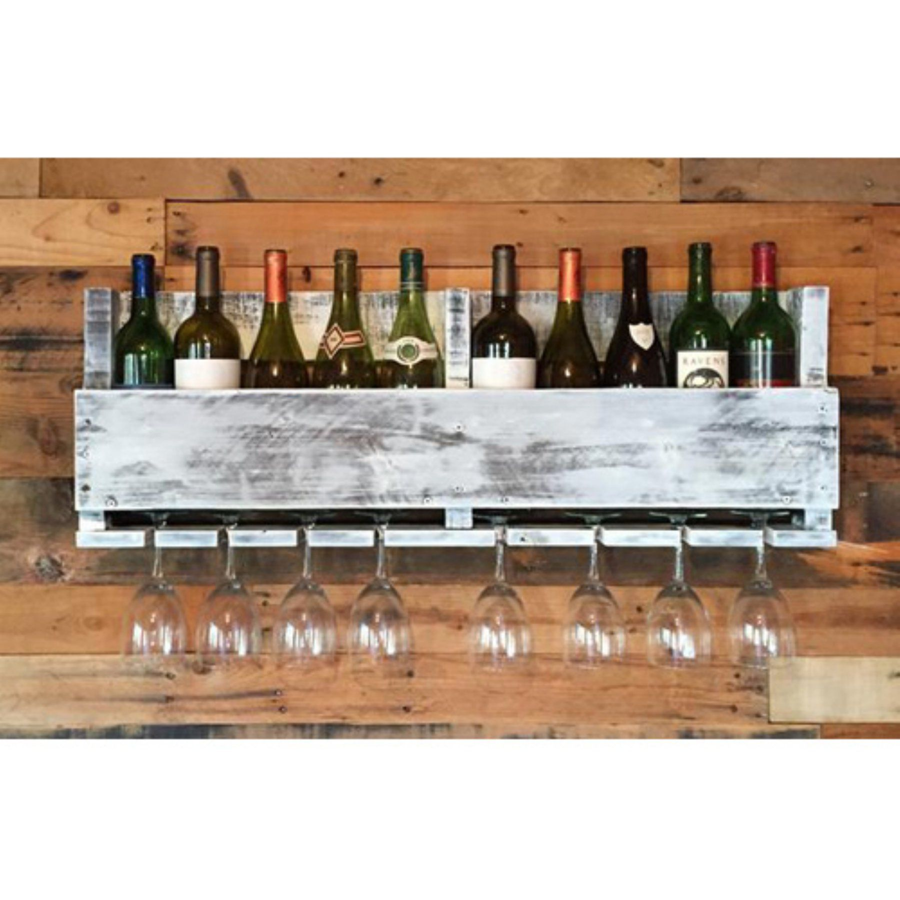 Ladybagssf Reclaimed 10 Bottle Wine Rack  Wine10Dis White