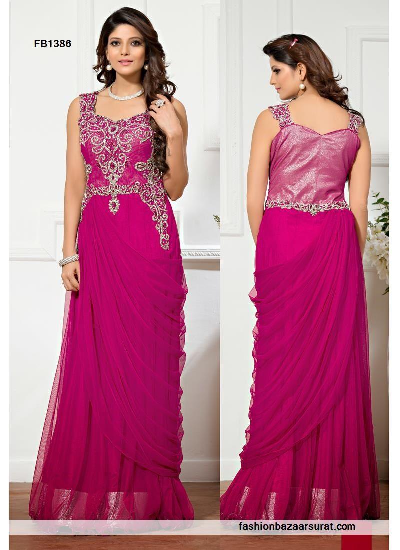 Diomond N Stone Magenta Wedding Designer Gown | Indian Gowns Online ...