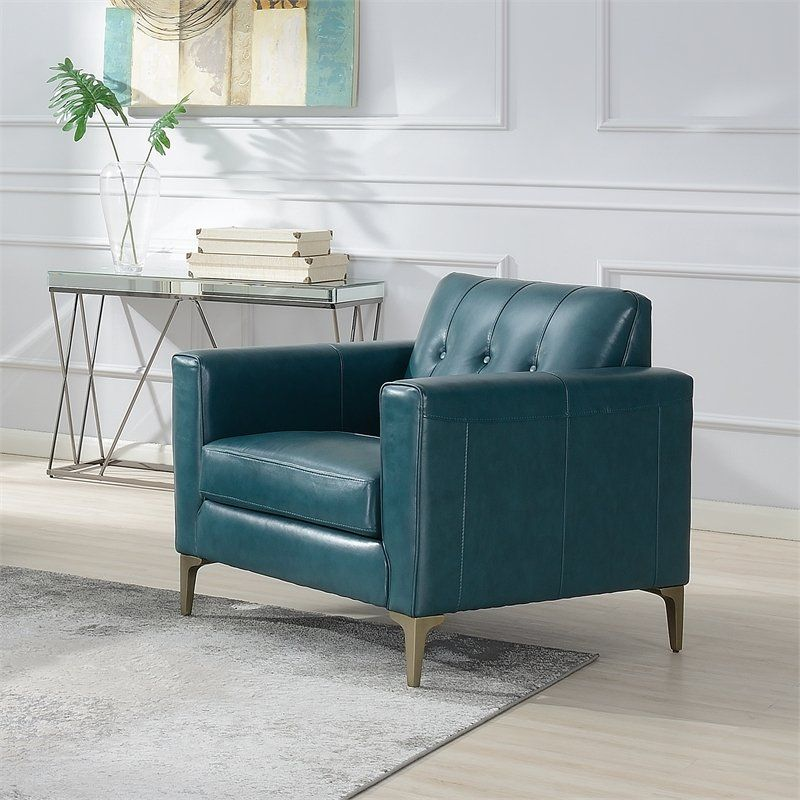 Maklaine Leather Accent Chair WIth Tufted Back In ...