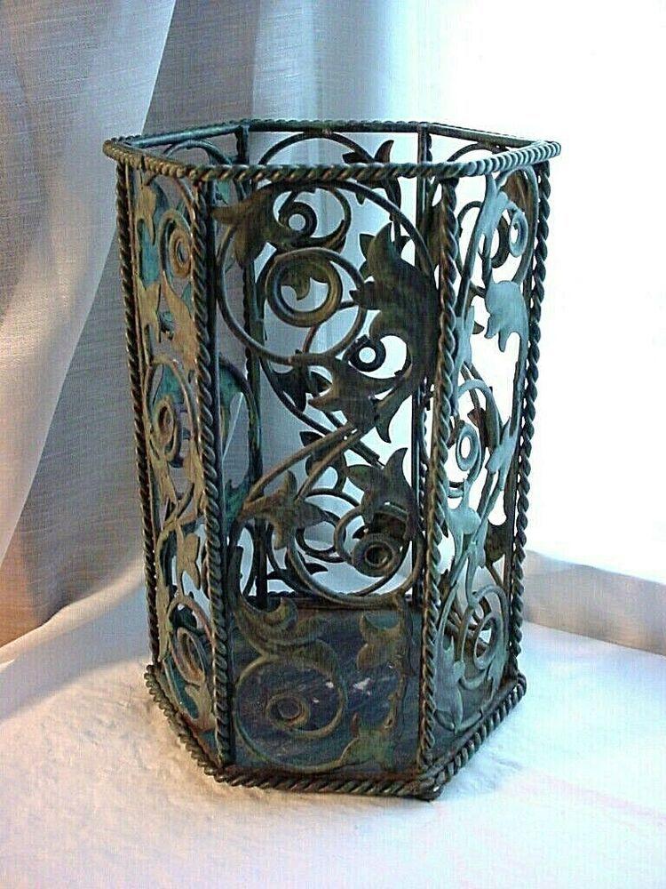 Florentine Metal Pillar Candle Shade 8 Inch Ornate Openwork