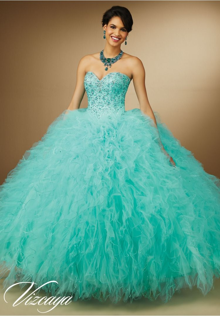 Quinceanera dresses by Vizcaya Embroidery and Beading on Ruffled ...