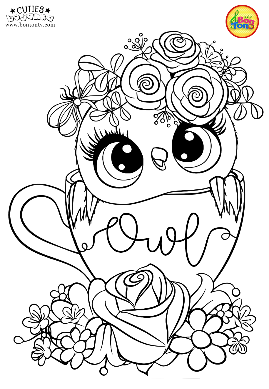 Cuties Coloring Pages For Kids Free Preschool Printables Slatkice Bojanke Cute Animal Coloring Book Owl Coloring Pages Coloring Books Cute Coloring Pages