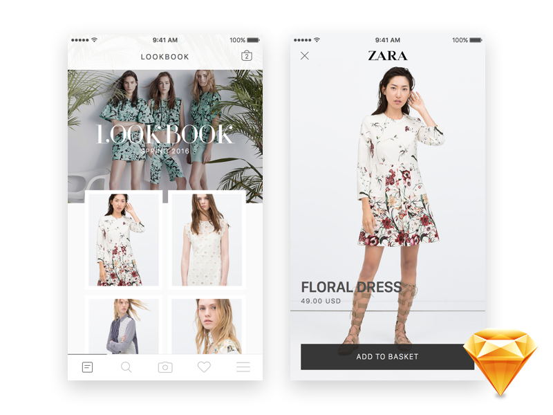 Unique free UI PSDs & resources for Designers - Uix One: Zara Lookbook Gallery for iOS