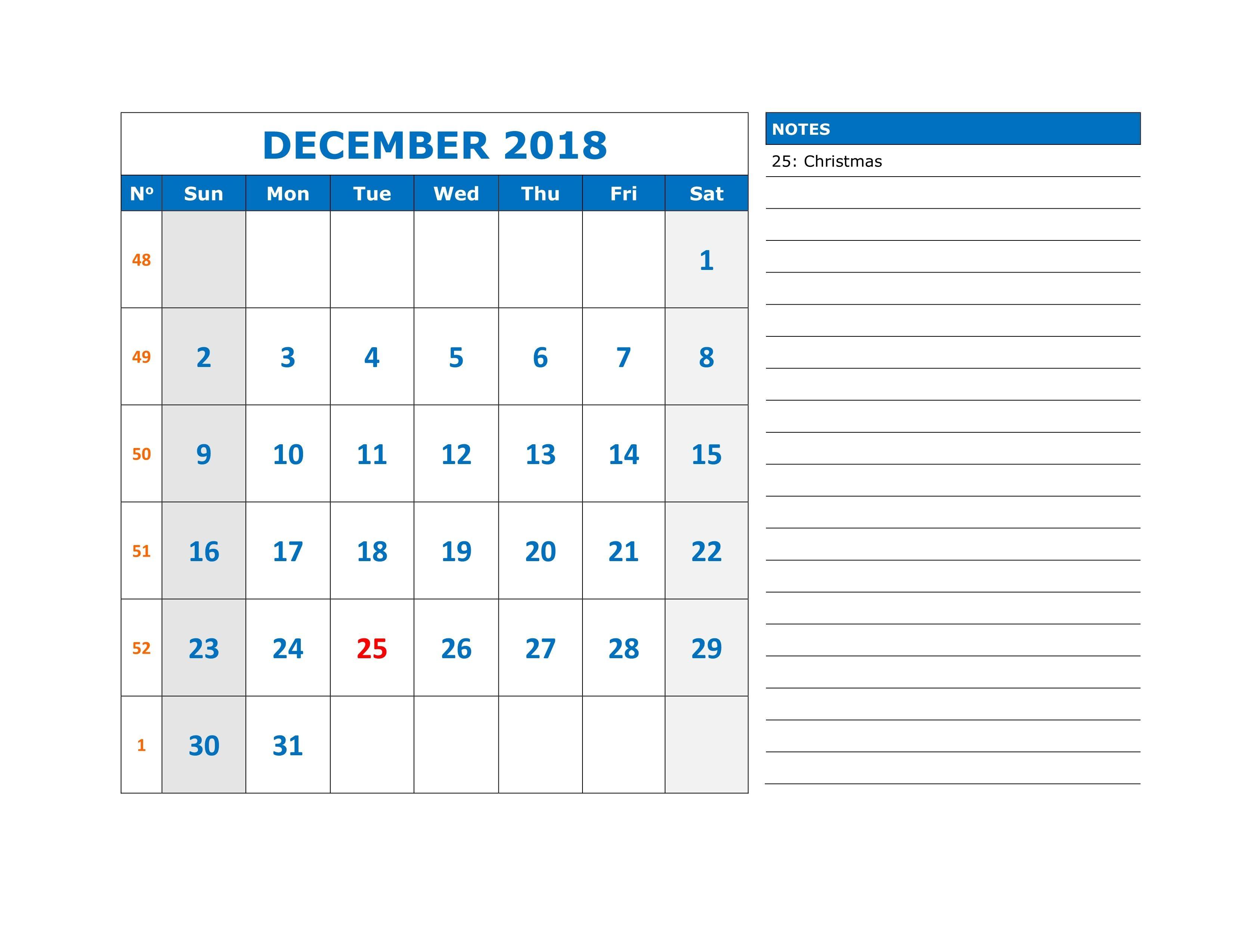 Calendar December 2018 Printable Notes Calendardecember2018